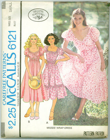 McCall's 6121 - Misses' Wrap Dress with Optional Ruffled Hem by Laura Ashley - Serendipity Vintage