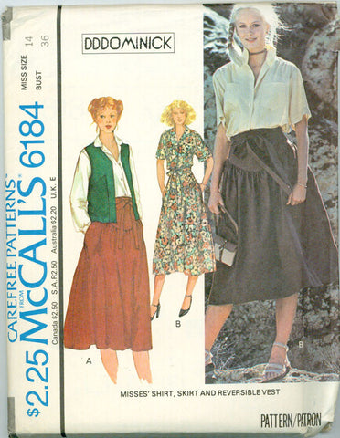 McCall's 6184 - Reversible Vest, Yoked Skirt, Shirt by DDDominick - Serendipity Vintage
