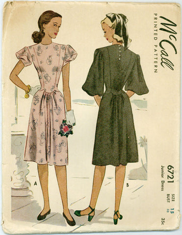 McCall 6721 - 1940s Puff Sleeved Dress with A-line Skirt and Scalloped Waist Detail - Serendipity Vintage