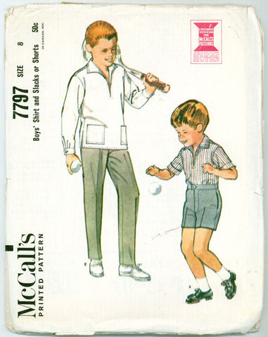 McCall's 7797 - Boys' Shirt and Slacks or Shorts - Serendipity Vintage