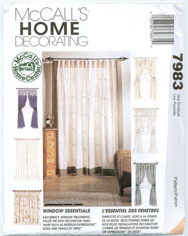 McCalls 7983 - Window Essentials- Curtains, Panels, Valances - Serendipity Vintage