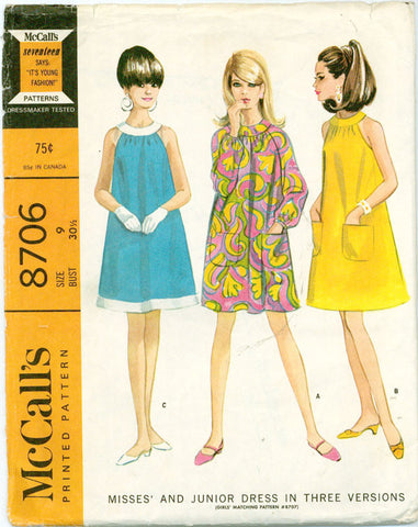 McCall's 8706 - Mod Halter or Ring Collar A-line Dress - Serendipity Vintage