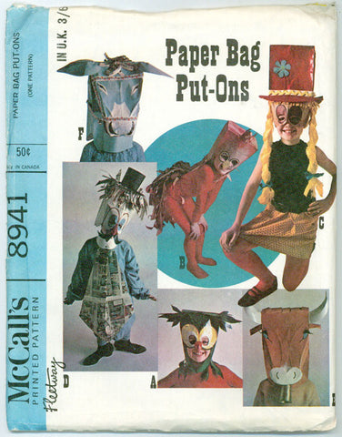 McCalls 8941 - Paper Bag Put-Ons - Costume Masks for Kids - Serendipity Vintage