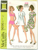 McCalls 9696 - 1960s Bikini, Shorts, and Puff Sleeve Dress or Beach Cover Up - Serendipity Vintage