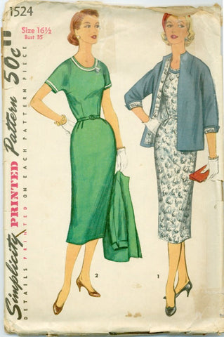 Simplicity 1524 - 1950s Slim Sheath Wiggle Dress and Jacket - Serendipity Vintage