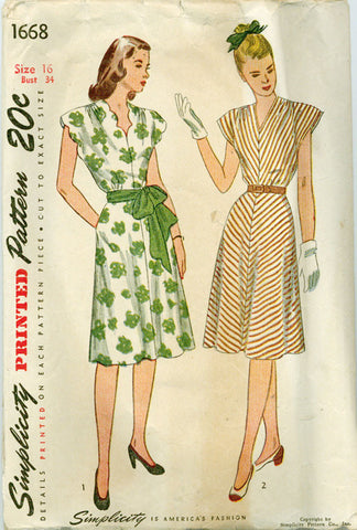 Simplicity 1668 - 1940s Cap-Sleeve Dress with Optional Scallop Neckline - Serendipity Vintage