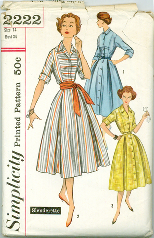 Simplicity 2222 - Slenderette Box Pleat Skirt Dress and Sash - Serendipity Vintage