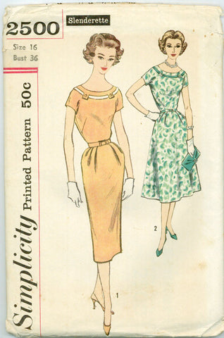 Simplicity 2500 - Slenderette Dress with Kimono Sleeves , Sheath or Flared Skirt - Serendipity Vintage