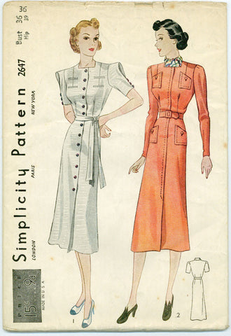 Simplicity 2647- 1930s Square Neckline Shirtwaist Dress with Looped Sleeves - Serendipity Vintage