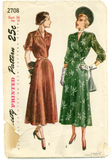 Simplicity 2708 - 1940s Women's Surplice Bodice Dress with Gored Skirt - Serendipity Vintage