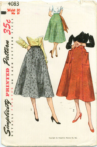 Simplicity 4083 - 1950s Full Skirt in Three Variations - Serendipity Vintage