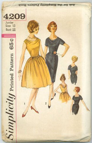Simplicity 4209 - Wiggle or Full Skirt Dress with Cowl Neck Collar - Serendipity Vintage