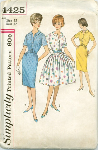 Simplicity 4425 - 1960s Dress with Slim or Full Skirt - Serendipity Vintage