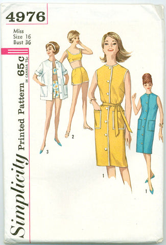 Simplicity 4976 - 1960s Playwear: Bra Top, Shorts, Dress, Shirt - Serendipity Vintage