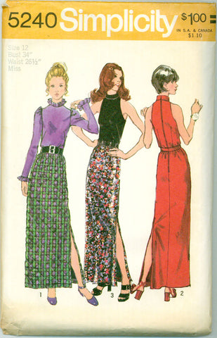 Simplicity 5240 - Day or Evening Blouse or Halter Top and Slit Maxi Skirt - Serendipity Vintage