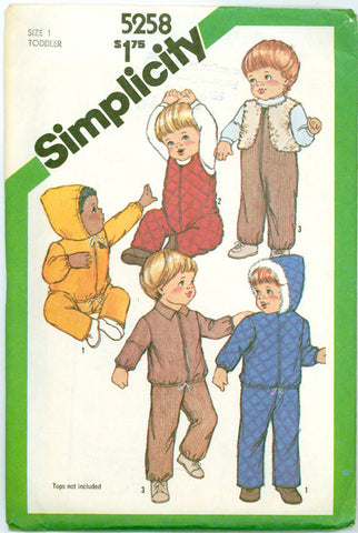 Simplicity 5258 - Toddlers' Snow Suit Overalls, Hooded Jacket, Lined Vest - Serendipity Vintage