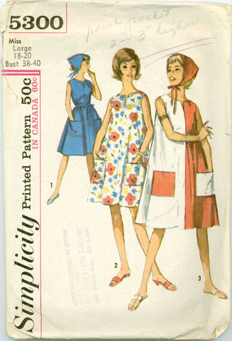 Simplicity 5300 - Misses' Beach Tent Dress in Two Lengths and Scarf - Serendipity Vintage