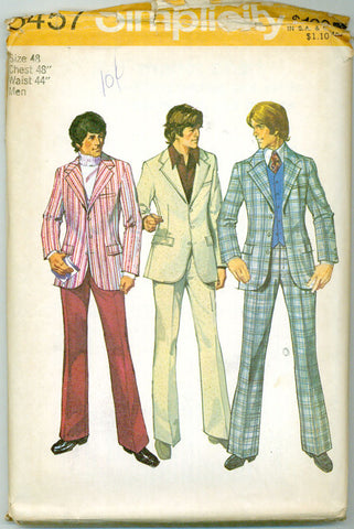 Simplicity 5457 - 1970s Men's Three-Button Suit Jacket and Wide-Leg Pants - Serendipity Vintage