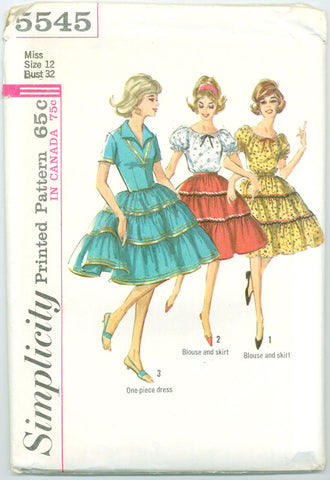 Simplicity 5545 - Dress, Full Tiered Skirt and Blouse with Ribbon Drawstring - Serendipity Vintage