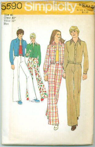 Simplicity 5590 - 1970s Men's Zipper Front Jacket and Wide-Leg Pants - Serendipity Vintage