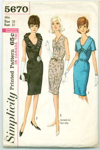 Simplicity 5670 - Evening or Day Dress with Optional Ruffled or Lace Collar - Serendipity Vintage