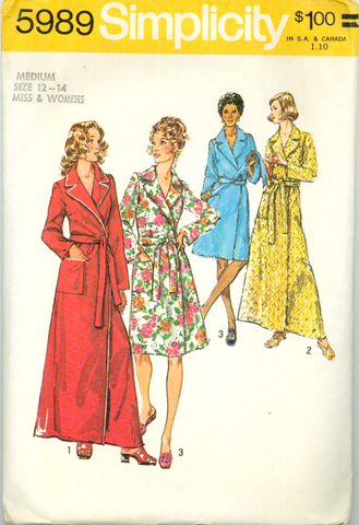 Simplicity 5989 - Misses' Classic Robe in Two Lengths - Serendipity Vintage