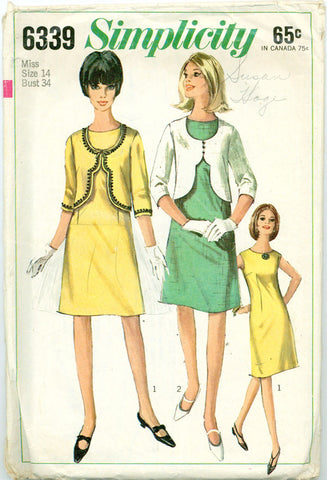 Simplicity 6339 - 60s Sheath with Scalloped Bolero Jacket - Serendipity Vintage