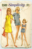 Simplicity 6500 - 1960s Bikini, Shorts, and Beach Blouse or Shift - Serendipity Vintage