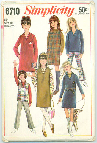 Simplicity 6710 - Girl's Dress, Jumper, or Overblouse, and Bell-Bottom Pants