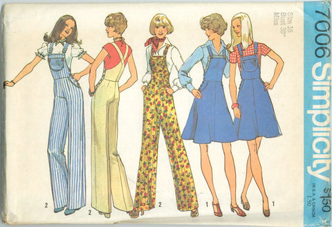 Simplicity 7006 - Misses' Wide Leg Overalls and Short Skirt Jumper - Serendipity Vintage