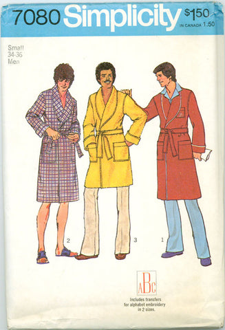 Simplicity 7080 - Men's Robe in Two Lengths with Iron-OnTransfers - Serendipity Vintage