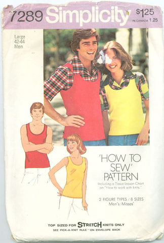 Simplicity 7289 - Men's Shirt and Tank Top - Serendipity Vintage