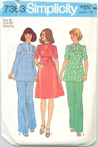 Simplicity 7363 - Maternity Dress, Tunic Top, and Pants - Serendipity Vintage