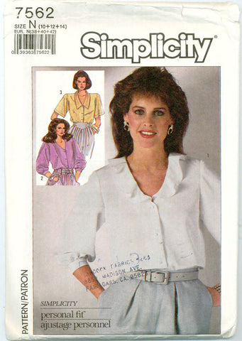 Simplicity 7562-Three-quarter sleeve Blouse with Optional Collar - Serendipity Vintage