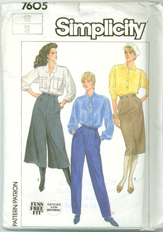 Simplicity 7605 - Misses' Pants, Culottes, and Skirt