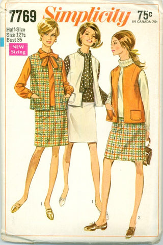 Simplicity 7769 - Sleeveless Jacket or Vest, Overblouse, Skirt - Serendipity Vintage