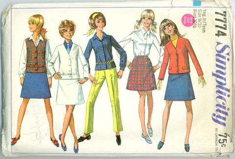 Simplicity 7774 - Unlined Jacket, A-Line Skirt, Blouse - Serendipity Vintage