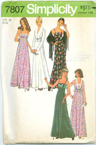 Simplicity 7807 -  Empire Waist Evening Dress with Matching Jacket - Serendipity Vintage