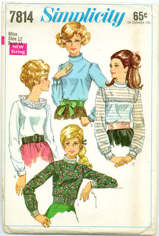 Simplicity 7814 - 1960s Stand Up Collar Blouses with Optional Lace Trim - Serendipity Vintage
