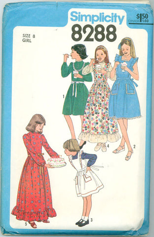 Simplicity 8288 - Girl's Dress and Pinafore Apron or Sundress - Serendipity Vintage