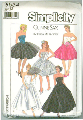 Simplicity 8534 - Gunne Sax Strapless Full Skirt Evening Dresses - Serendipity Vintage