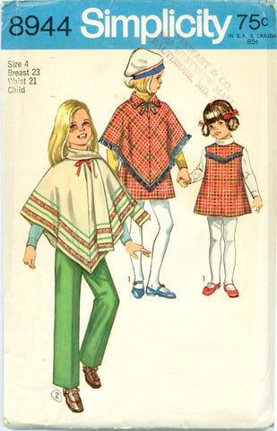 Simplicity 8944 - Girls' Separates - Poncho, Jumper, Pants, Scarf - Serendipity Vintage