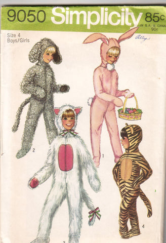 Simplicity 9050 - Child's Bunny, Lamb, Tiger, and Cat Costumes - Serendipity Vintage