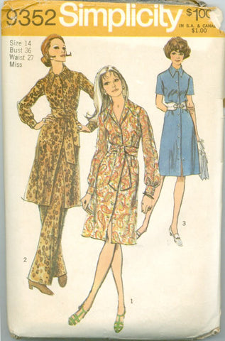 Simplicity 9352 - Misses' Shirtwaist Dress, Pants, and Sash - Serendipity Vintage