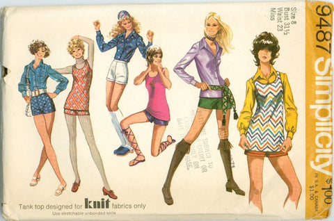 Simplicity 9487 -Misses' Hot Pants or Shorts, Blouse, and TankTop - Serendipity Vintage