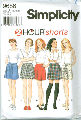 Simplicity 9686 - Two Hour Shorts with or without Panels - Serendipity Vintage