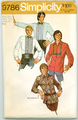 Simplicity 9786 - Set of Men's Day and Evening Shirts - Serendipity Vintage