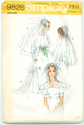 Simplicity 9826 - Set of Bridal Headpieces with Veil in Three Lengths - Serendipity Vintage