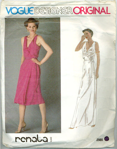 Vogue 2565 - Designer Original - Wrap Dress with Ruffled Collar by Renata - Serendipity Vintage