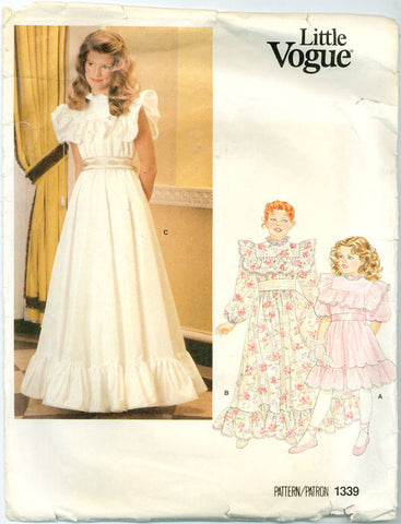 Vogue 1339 - Girls' High Neck and Ruffled Hem Dress in Knee or Evening Length - Serendipity Vintage